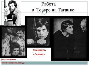 Работа в Театре на Таганке Спектакль «Гамлет» Роль Лопахина. Чехов. «Вишневы