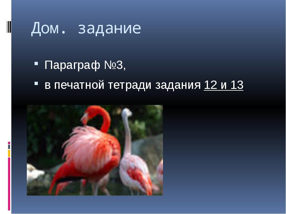 Дом. задание Параграф №3, в печатной тетради задания 12 и 13
