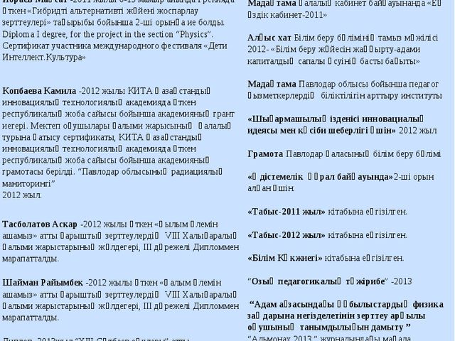Оқушылардың жетістіктеріМұғалім жұмысының нәтижелері Дүсіпов Мереке -2011 жы...