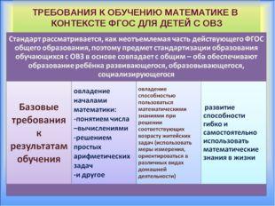 ТРЕБОВАНИЯ К ОБУЧЕНИЮ МАТЕМАТИКЕ В КОНТЕКСТЕ ФГОС ДЛЯ ДЕТЕЙ С ОВЗ