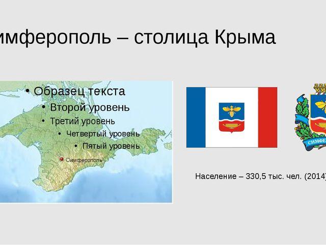 Симферополь – столица Крыма Население – 330,5 тыс. чел. (2014)