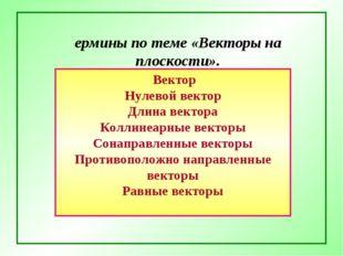 Термины по теме «Векторы на плоскости». Вектор Нулевой вектор Длина вектора К