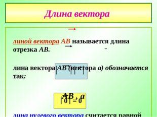 Длина вектора Длиной вектора АВ называется длина отрезка АВ. Длина вектора АВ