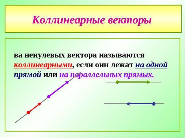 Коллинеарные векторы Два ненулевых вектора называются коллинеарными, если они...