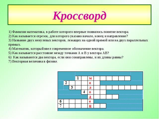 Кроссворд 1) Фамилия математика, в работе которого впервые появилось понятие...