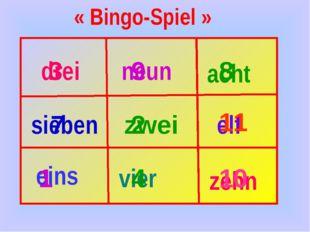 eins zwei acht neun vier elf zehn sieben drei 3 9 8 7 2 11 1 4 10 « Bingo-Spi