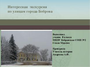 Интересная экскурсия по улицам города Боброва Выполнил ученик 8 класса МКОУ Б
