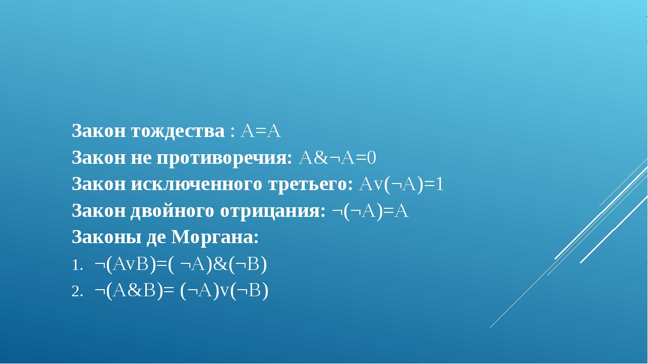 Закон тождества : А=А Закон не противоречия: А&¬А=0 Закон исключенного третье...