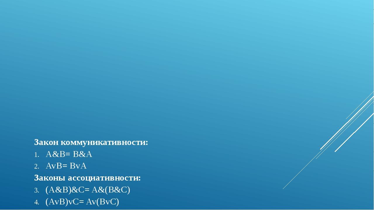 Закон коммуникативности: A&B= B&A AvB= BvA Законы ассоциативности: (A&B)&С= A...