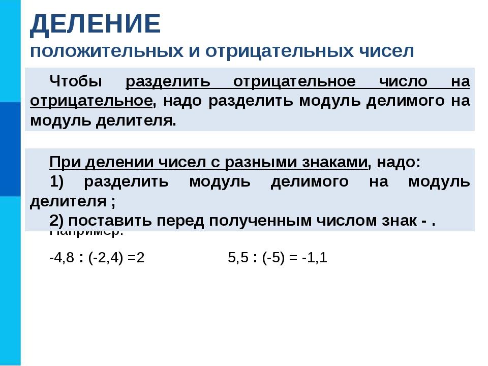 Например: -4,8 : (-2,4) =2 5,5 : (-5) = -1,1 ДЕЛЕНИЕ положительных и отрицате...