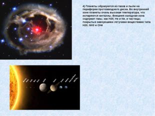 4) Планеты образуются из газов и пыли на периферии протозвездного диска. Во в