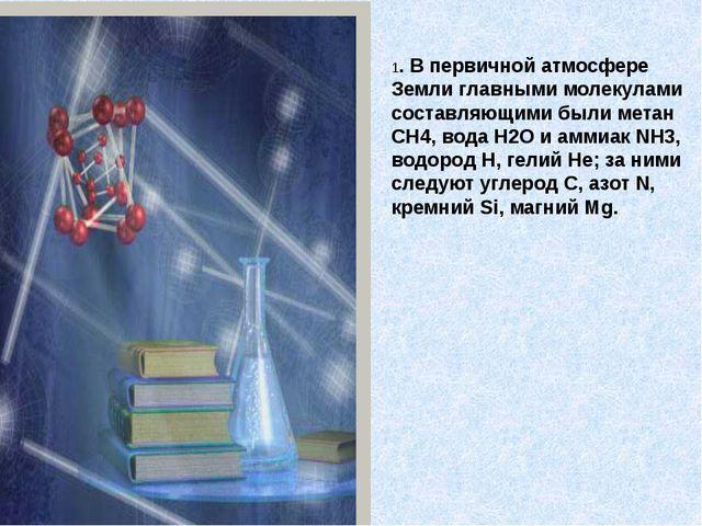 1. В первичной атмосфере Земли главными молекулами составляющими были метан C...