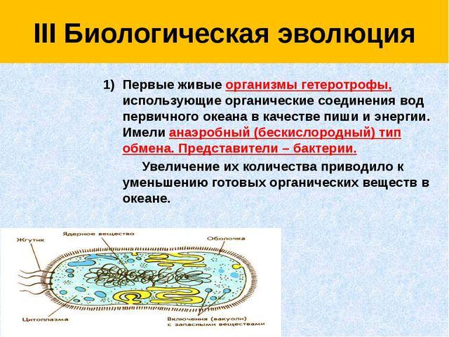III Биологическая эволюция Первые живые организмы гетеротрофы, использующие...
