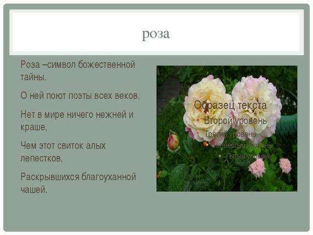 роза Роза –символ божественной тайны. О ней поют поэты всех веков, Нет в мире...