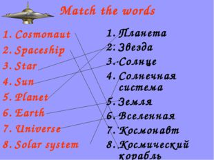 Match the words Cosmonaut Spaceship Star Sun Planet Earth Universe Solar syst
