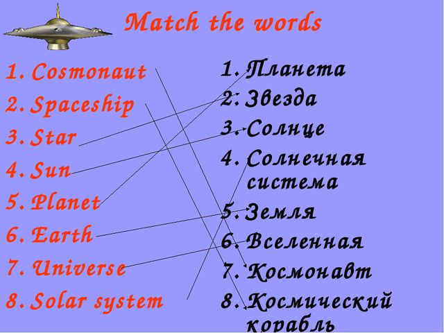 Match the words Cosmonaut Spaceship Star Sun Planet Earth Universe Solar syst...