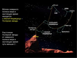 Расстояние Полярной звезды от северного полюса мира в настоящее время чуть ме