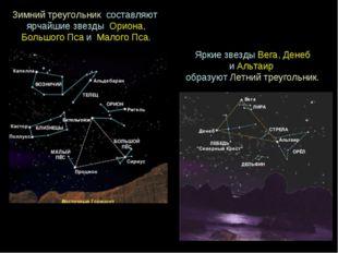 Зимнийтреугольник составляют ярчайшиезвезды Ориона, БольшогоПсаи Мало
