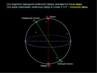 Ось видимого вращения небесной сферы называется осью мира. Ось мира пересекае
