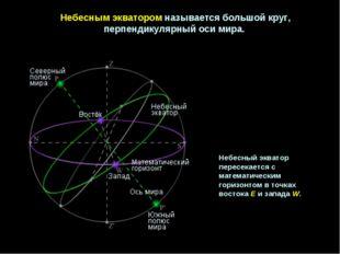 Небеснымэкваторомназываетсябольшойкруг, перпендикулярныйосимира. Небесн