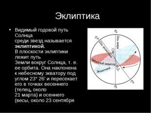 Эклиптика Видимый годовой путь Солнца среди звезд называется эклиптикой. В пл
