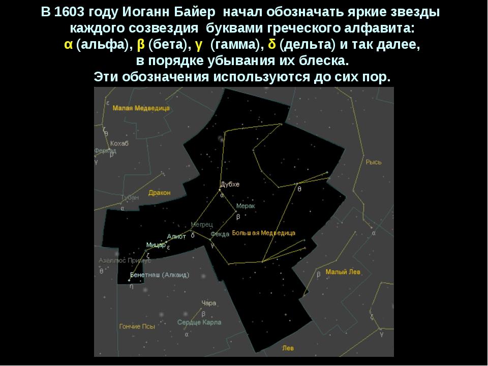 В1603 годуИоганнБайер началобозначатьяркиезвезды каждогосозвездия б...