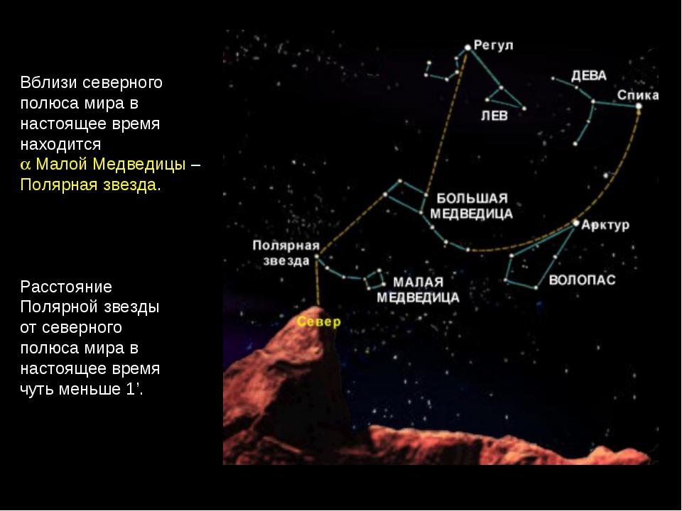 Расстояние Полярной звезды от северного полюса мира в настоящее время чуть ме...
