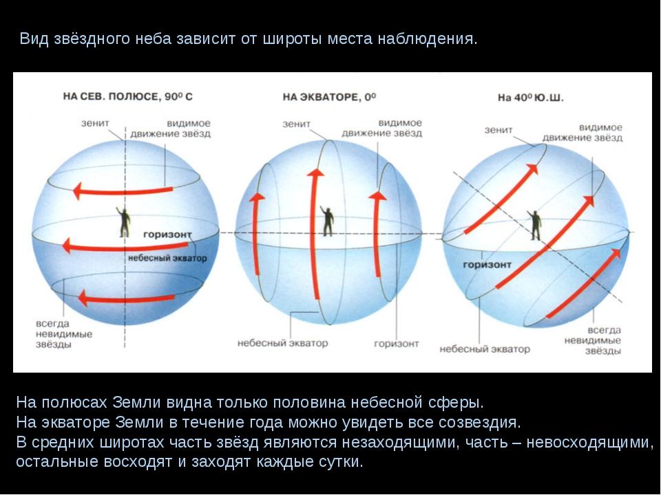 Вид звёздного неба зависит от широты места наблюдения. На полюсах Земли видна...