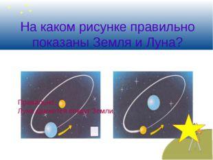 На каком рисунке правильно показаны Земля и Луна? Правильно, Луна движется во