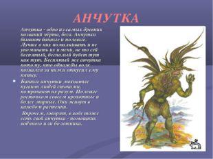 АНЧУТКА Анчутка - одно из самых древних названий чёрта, беса. Анчутки бывают