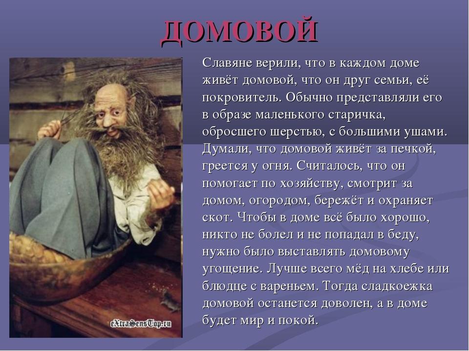 ДОМОВОЙ Славяне верили, что в каждом доме живёт домовой, что он друг семьи, е...