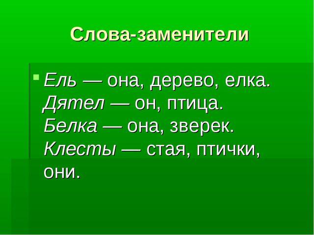 Слова-заменители Ель —она, дерево, елка. Дятел —он, птица. Белка —она, зве...