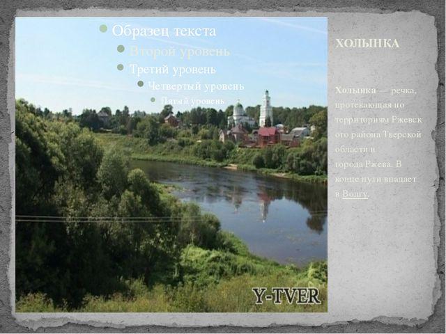 Холынка—речка, протекающая по территориямРжевского районаТверской области...