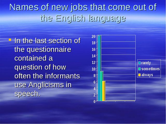 Names of new jobs that come out of the English language In the last section o...
