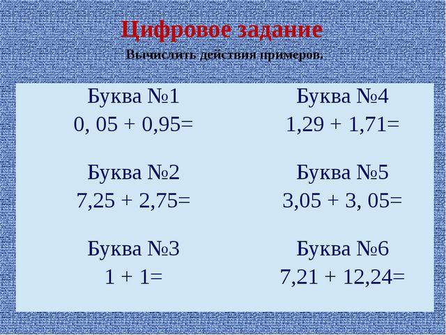Вычислить действия примеров. Цифровое задание Буква №1 0, 05 + 0,95= Буква №4...