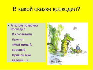 В какой сказке крокодил? А потом позвонил Крокодил И со слезами Просил: «Мой