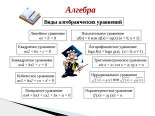 Алгебра Линейное уравнение ax + b = 0 Квадратное уравнение ax2+ bx + c = 0