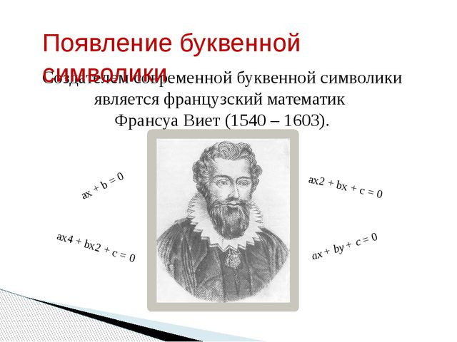 Создателем современной буквенной символики является французский математик Фра...