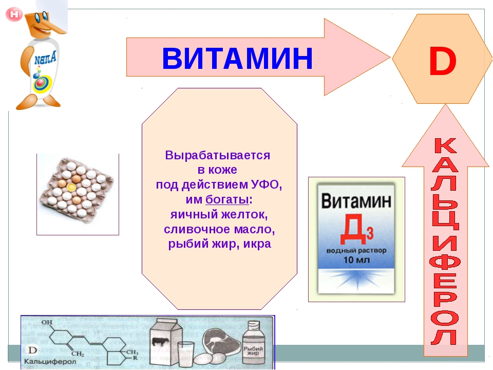 ВИТАМИН D Вырабатывается в коже под действием УФО, им богаты: яичный желток,...