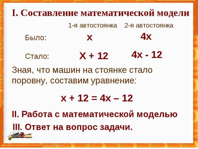I. Составление математической модели 1-я автостоянка 2-я автостоянка Было: Ст...