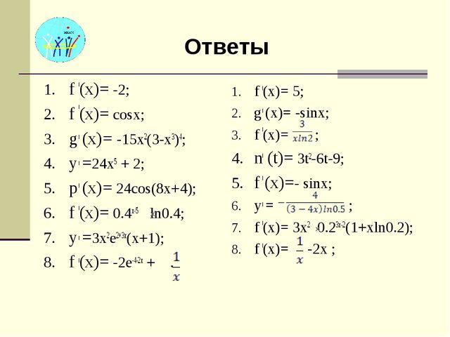 Ответы f (x)= -2; f (x)= cosx; g (x)= -15x2(3-x3)4; y =24x5 + 2; p (x)= 24cos...