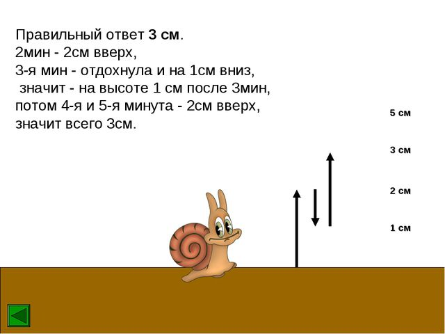 Правильный ответ 3 см. 2мин - 2см вверх, 3-я мин - отдохнула и на 1см вниз, з...