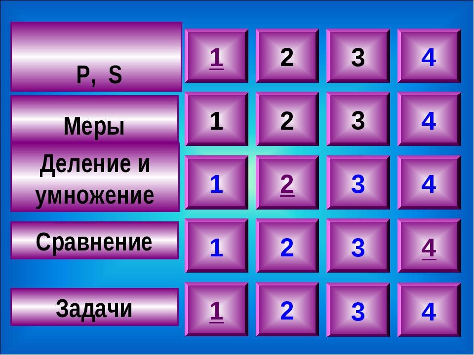 Р, S Меры Деление и умножение Сравнение Задачи 1 2 3 4 1 1 1 1 2 2 2 2 3 3 3...