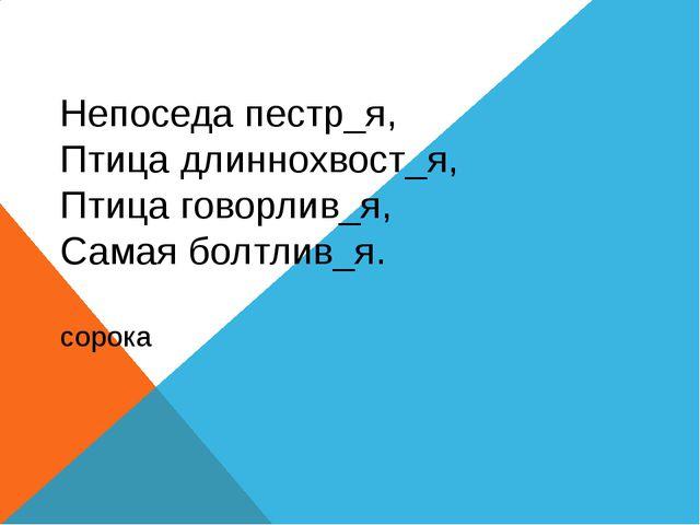 Непоседа пестр_я, Птица длиннохвост_я, Птица говорлив_я, Самая болтлив_я. со...