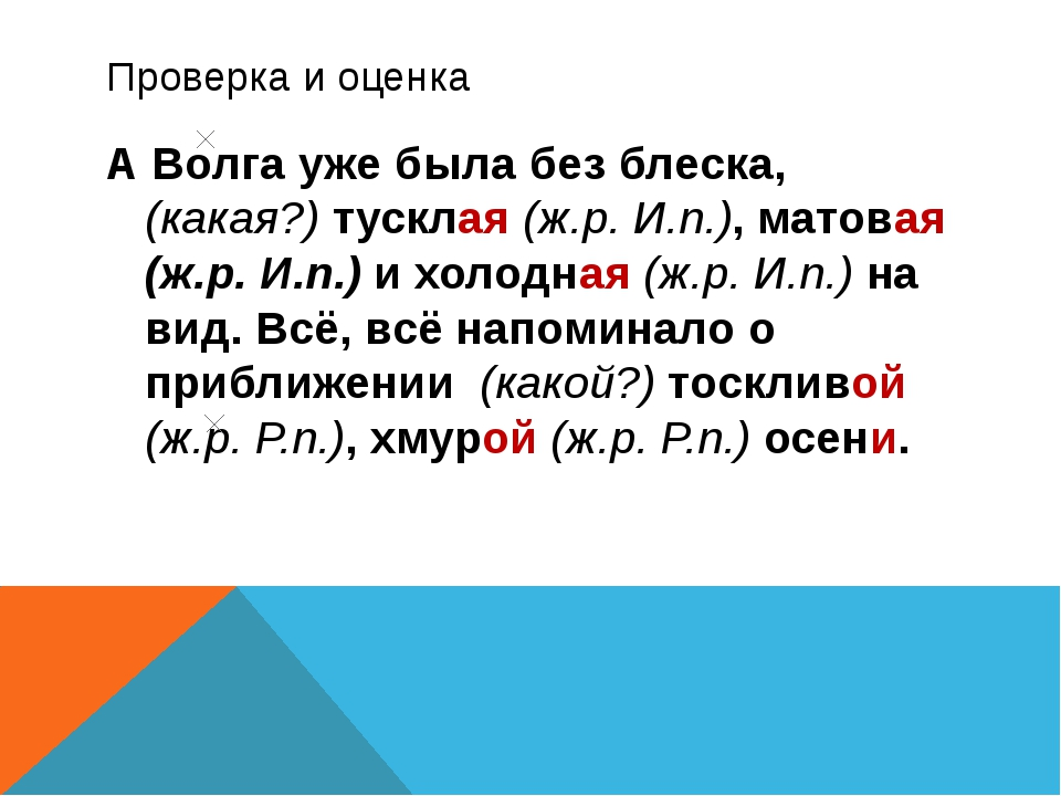 Проверка и оценка А Волга уже была без блеска, (какая?) тусклая (ж.р. И.п.),...