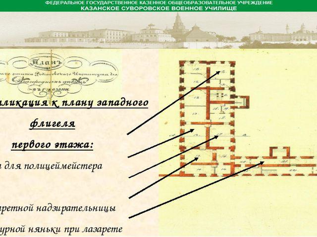 Экспликация к плану западного флигеля первого этажа: 1. Комната для полицейм...