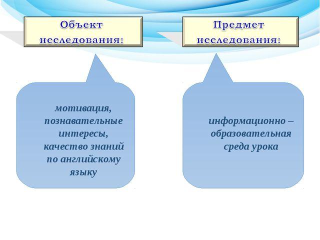 информационно – образовательная среда урока мотивация, познавательные интере...