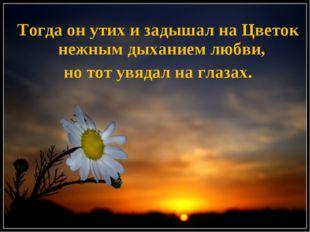 Тогда он утих и задышал на Цветок нежным дыханием любви, но тот увядал на гла