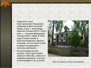 Родился в селе Константиново Рязанской губернии в крестьянской семье, отец—