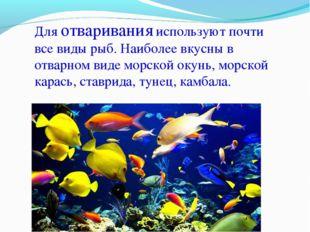 Для отваривания используют почти все виды рыб. Наиболее вкусны в отварном вид